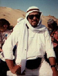 Vincent Bridges, in the vicinity of a camel, many years ago when he could still pass as a human