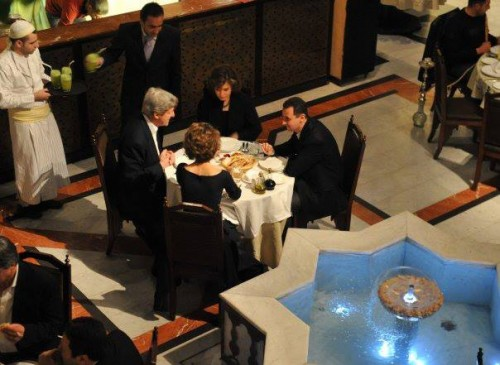 """Kerry praised Assad later in 2011 as being a ""very generous"" man."" Image: Senator John Kerry, his wife, Syrian President Bahar al-Assad and his wife, in Damascus 2011."