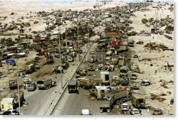 The 'good old days'- Gulf 'war' 1 and the highway of death. Military and civilian vehicles alike, and their occupants, blown to pieces by the USA
