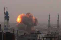 An Israeli missile explodes in the densely populated Gaza strip